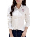 Lovely Embroidery Pocket Cat Pattern Long Sleeve Lapel Single Breasted Shirt