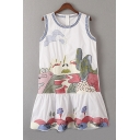 Summer's Cartoon Printed Round Neck Sleeveless Mini Swing Tank Dress