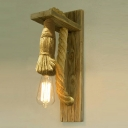 Vintage Style 1 Light Natural Rope Wall Sconce in Wood Finish