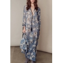 New Fashion Plunge Neck Long Sleeve Floral Printed Maxi Beach Dress