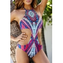 New Arrival Tribal Printed Halter Neck Sexy Cut Out Waist One Piece Swimwear