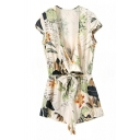Holiday Beach Plunge Neck Cap Sleeve Foliage Printed Fashion Rompers