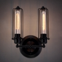 Punk Steam Style LOFT Cage LED Wall Sconce with Two Light