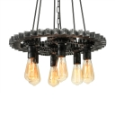 Galvanized Iron 6 Light Industrial Lighting Multi Light Pendant with Gear Shape