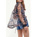 Summer's Organza Stand Up Collar Long Sleeve Floral Printed Zip Up Sun Coat
