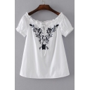 Chic Floral Embroidered Boat Neck Short Sleeve Pullover Casual Blouse