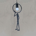Metal Man LED Hanging Pendant Light Black