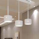 Dots Drum Multi-Light Pendant LED White Acrylic Modern