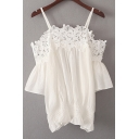 Spaghetti Straps Cold Shoulder Short Sleeve Plain Lace Hollow Out Chiffon Blouse