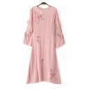 Women's Embroidered Floral Split Front Cutout Tied Long Sleeve Round Neck Maxi Dress