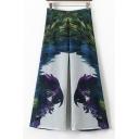 Color Block Parrot Printed Zip Side High Waist Wide Leg Pants