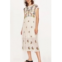 Chic Floral Embroidered Round Neck Sheer Mesh Patched Maxi Dress
