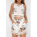Hot Fashion Floral Printed Tassel Hem Round Neck Sleeveless Top with Casual Loose Shorts
