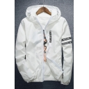 Letter Printed Hooded Long Sleeve Zip Placket Unisex Sun Coat