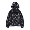 Fashion BOY Eagle Printed Hooded Long Sleeve Zipper Placket Coat