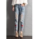 Chic Floral Embroidered Mid Waist Fashion Cut Out Casual Jeans