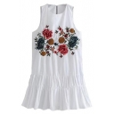 Chic Floral Embroidered Round Neck Sleeveless Midi Tank Dress
