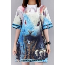 New Arrival Cartoon Pattern Round Neck Short Sleeve Casual Loose T-Shirt Dress