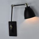 Industrial Dome Wall Sconce Adjustable in Black