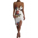 Hot Fashion Retro Floral Printed Spaghetti Straps Slit Side Midi Bodycon Slip Dress