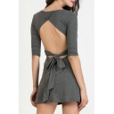 New Arrival Open Back Bow Back Scoop Neck Half Sleeve Plain Mini A-Line Dress