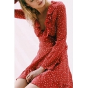 Summer's Fresh Polka Dot Pattern Plunge Neck Long Sleeve Ruffle Hem Mini Dress