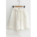 Summer's Fresh Basic Simple Plain Tie Waist Loose Wide Legs Shorts