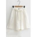 Summer's Fresh Basic Simple Plain Tie Waist Loose Wide Legs Shorts