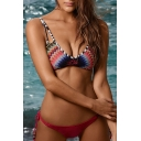 Women's Straps Color Block Printed Cutout Hipster Bikinis