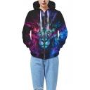 Color Block Lion 3D Printed Drawstring Hooded Long Sleeve Zip Up Hoodie Sweatshirt