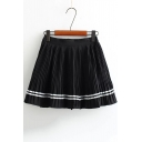 High Rise Elastic Waist Striped Printed Chiffon Mini A-Line Pleated Skirt