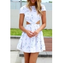 New Arrival Cutout Waist Short Sleeve Floral Printed Mini A-line Dress