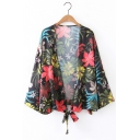 New Arrival Floral Printed Long Sleeve Collarless Knotted Kimono Top