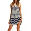 Hot Fashion Lace Hollow Out Back Round Neck Short Sleeve Striped Printed Mini Tank Dress