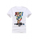 Hot Fashion Colorful Ink Letter Printed Round Neck Short Sleeve T-Shirt