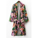 Fashion Floral Color Block Printed Long Sleeve Belt Waist Cardigan Kimonos with Pockets