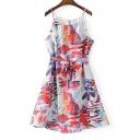 Spaghetti Straps Chic Ink Floral Printed Tie Waist Midi Slip Dress