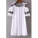Women's Embroidery Floral Short Sleeve Cold Shoulder Knotted Straps Mini Swing Cami Dress