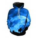 3D Moon Wolf Printed Long Sleeve Casual Hoodie with Pockets