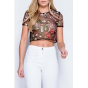 Hot Fashion Chic Floral Embroidered Round Neck Short Sleeve Cropped Sheer T-Shirt