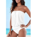 New Fashion Bandeau Sleeveless Plain Sexy One Piece Swimwear