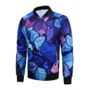 Digital Geometric Printed Stand Up Collar Long Sleeve Zip Up Jacket
