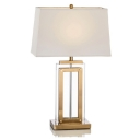 Bungalow BeltCrystal Table Lamp with Antique Brass Steel White Shade