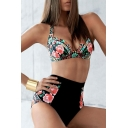 New Fashion Retro Floral Printed High Waist Bottom Bikini Swimwear