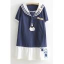 Summer's Fresh Printed Color Block Folded Collar Short Sleeve T-Shirt Dress
