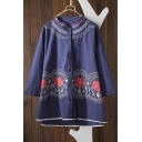 Women's Round Neck 3/4 Length Sleeve Embroidery Floral Single Breasted Tribal Top
