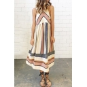 Color Block Striped Printed Round Neck Sleeveless Maxi Tank Dress