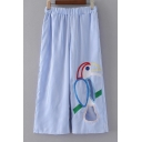Parrot Embroidered Elastic Waist Striped Printed Wide Legs Loose Pants