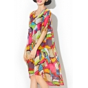 New Fashion Round Neck Short Sleeve Color Block Oversize High Low Chiffon Dress