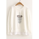 Coke Cup Pattern Round Neck Long Sleeve Casual Leisure Pullover Sweatshirt